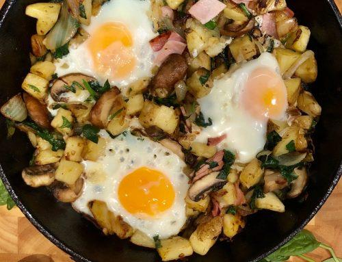 Ham, Mushroom & Spinach Breakfast Hash